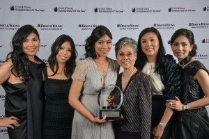 The An Family, of fourth generation family-owned business House of An, receives Ernst & Young Entrepreneur Of The Year Family Business Award of Excellence. From left to right: Monique An, Jacqueline An, Catherine An, Helene An, Hannah An, and Elizabeth An.