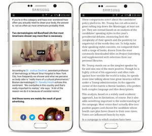 The image on the left shows a typical post from Buzzfeed which has been mobilized with bolding, paragraph spaces and photos to make it easy to read. The image on the right is just plain text and is much more intimidating.