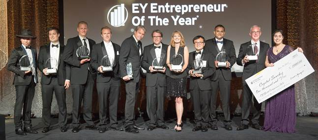 EY Entrepreneur Of The Year is a real competition, so everyone can't win. But there are many other benefits for competing companies and their leaders. Pictured are award recipients in Greater Los Angeles as revealed last year at the Beverly Hilton Hotel.