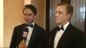 Finalists Jaspar Weir and Bryce Maddock of TaskUs being interviewed at the awards gala in Los Angeles on June 16, 2015.